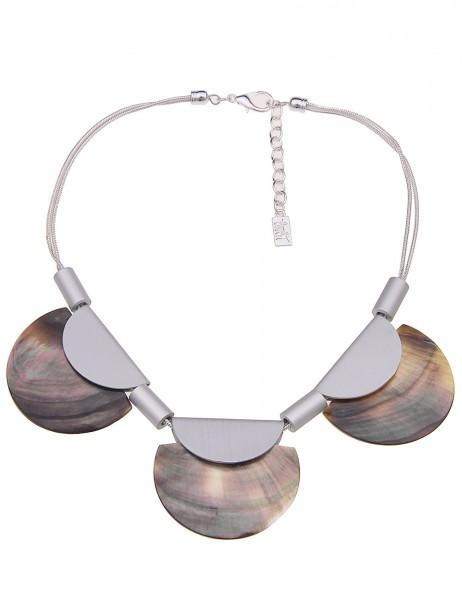 Leslii Damenkette Strandurlaub aus Metalllegierung mit Perlmutt Länge 44cm in Silber Matt Grau