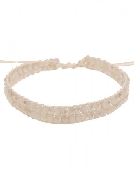 Leslii Damenarmband Western Style aus Textil mit Glasperlen Länge 19cm verstellbar in Beige Weiß