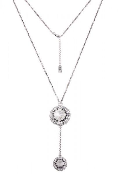 Lange Halskette Double Stone Silber