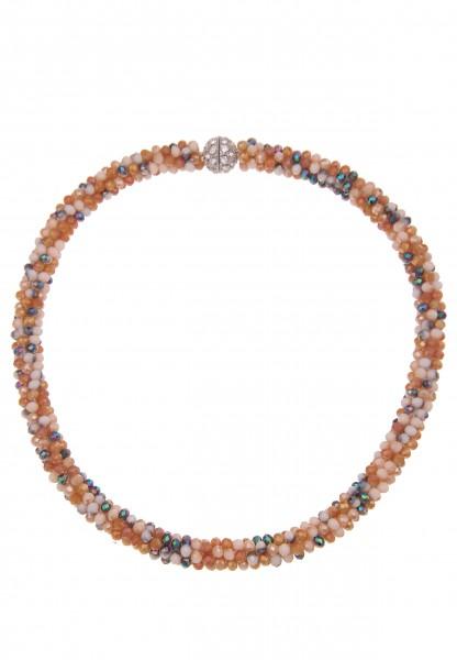 Leslii Damenkette Klara Kristallkorn Glasperlen-Kette Halskette Collier Modeschmuck-Kette Strass Län
