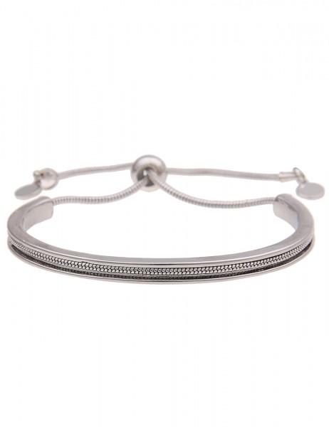Leslii Damenarmband Halbreif aus Metalllegierung Länge verstellbar in Silber Hochglanz
