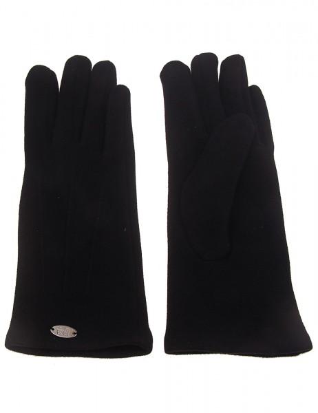 Leslii Damen-Handschuhe Fashion Nähte Naht-Muster schwarze Winter-Handschuhe Teddy-Fell weiche Hands
