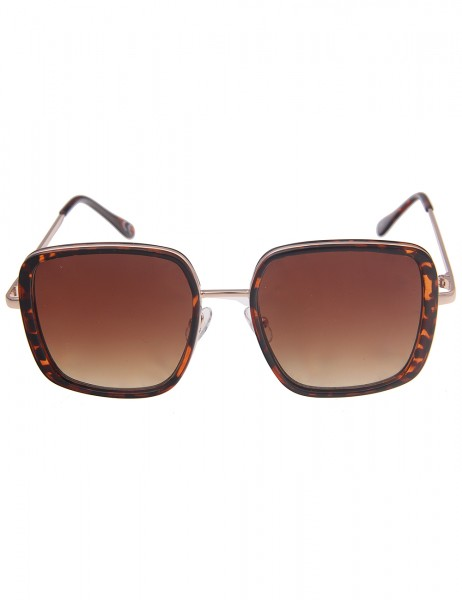 Leslii Sonnenbrille Damen Square Horn-Look braune Designerbrille eckige Statement-Brille Sunglasses