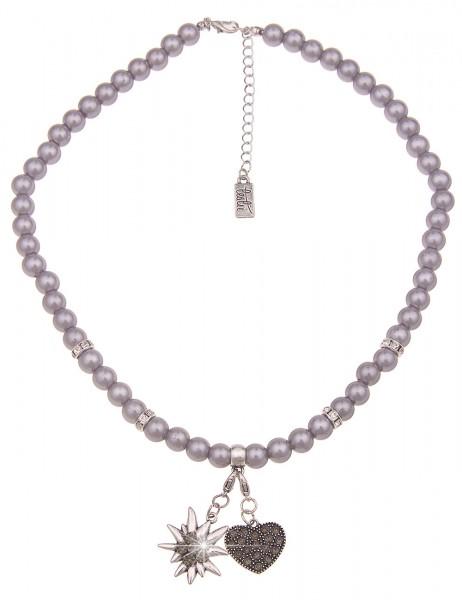 Leslii Damen-Kette Herz-Anhänger Edelweiß Oktoberfest Wiesn Dirndl graue Perlen-Kette kurze Modeschm