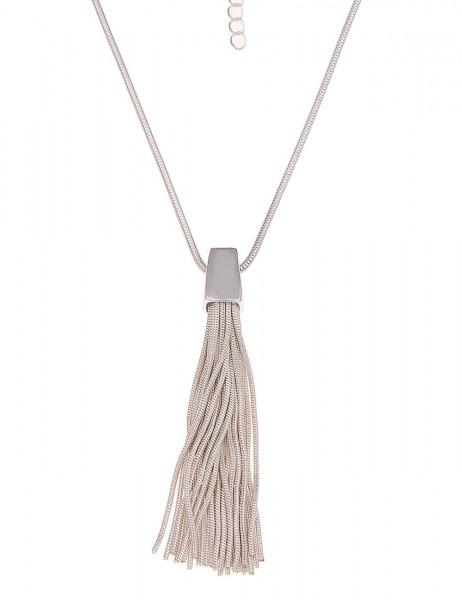 Leslii Halskette Bommel-Look Silber   lange Damen-Kette Mode-Schmuck   86cm + Verlängerung