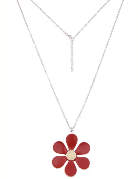 -50% SALE Leslii Damen-Kette Colour Flower Silber Rot Metalllegierung 85cm + Verlängerung 220115932