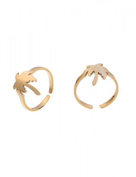 Leslii 4teen Damenring Palme aus Metalllegierung Größe verstellbar in Gold