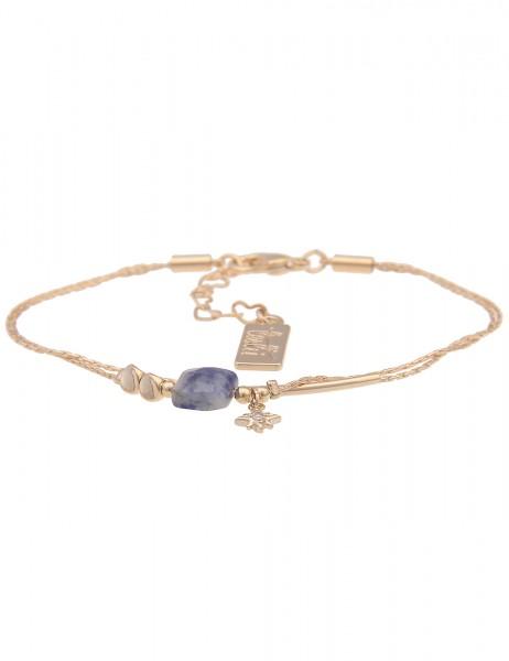 Leslii Damen-Armband Natur-Stein mehrfaches Armband filigraner Armschmuck goldenes Modeschmuck-Armba