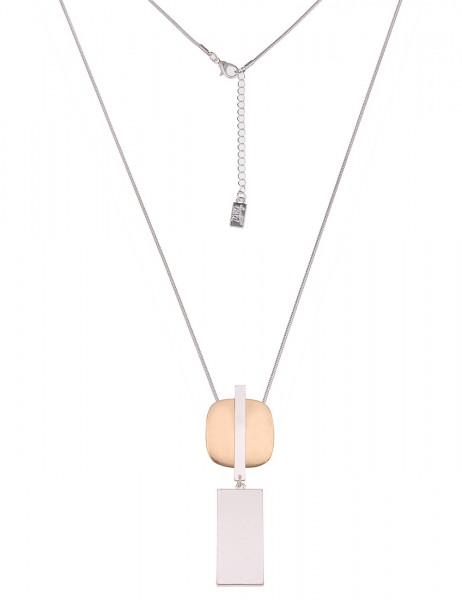 Leslii Damenkette Bicolor Formen lange Halskette Modeschmuck-Kette Länge 80cm in Silber Gold