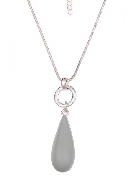 Leslii Halskette Tropfen Grau Silber | lange Damen-Kette Mode-Schmuck | 85cm + Verlängerung