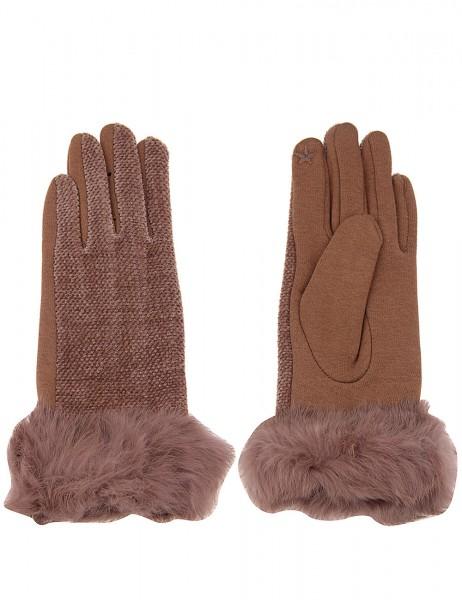 Leslii Damen Handschuhe Fake Fur aus Polyester mit Baumwolle Größe One Size in Braun