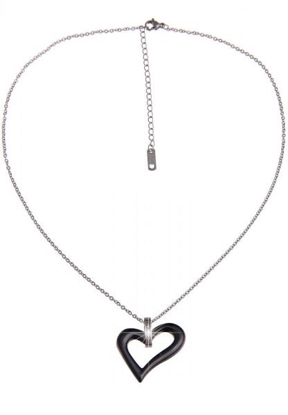 LAST CHANCE! Leslii Kurze Halskette Black Heart in Silber Schwarz