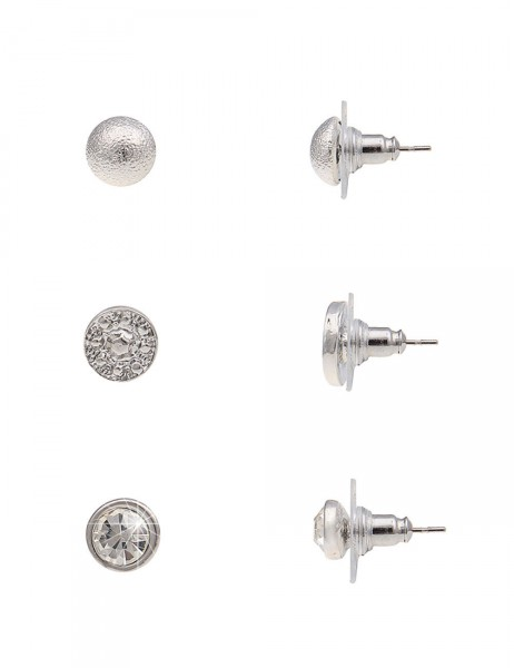 Leslii 4Teen Damenohrringe Ohrstecker 3er-Set Glanz aus Metalllegierung Größe 0,7cm und 0,8cm in Sil