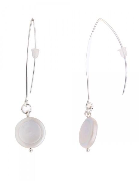 -50% SALE Leslii Damen-Ohrringe Ohrhänger Muschel-Scheiben Silber Weiß Metalllegierung 6,5cm 2301158