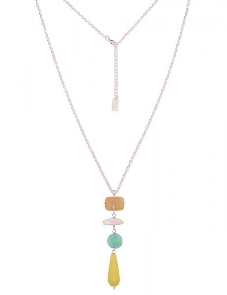 Leslii Damen-Kette Naturstein-Kette Glieder-Kette weiße Perle lange Halskette silberne Modeschmuck-K