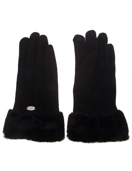 Leslii Damen-Handschuhe Fashion Fake Fur Kunstfell Naht-Muster schwarze Winter-Handschuhe Teddy-Fell