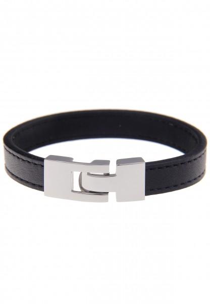 -50% SALE Leslii Premium Uni Schwarz | Trendiges Armband | Damen Leder-Schmuck | 19cm