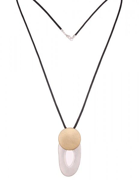 Leslii Damen-Kette Bicolor Matt Silber Gold Textil Metalllegierung 80cm + Verlängerung 220116917
