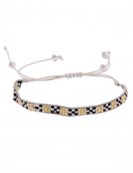 Leslii 4Teen Damenarmband Web-Muster aus Textil mit Glasperlen Länge verstellbar in Weiß Gold