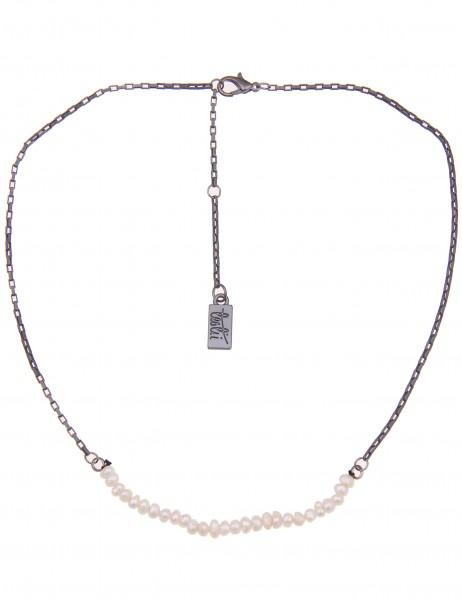 Leslii Damen-Kette Little Pearls Schwarz Weiß Metalllegierung Zuchtperlen 40cm + Verlängerung 210116