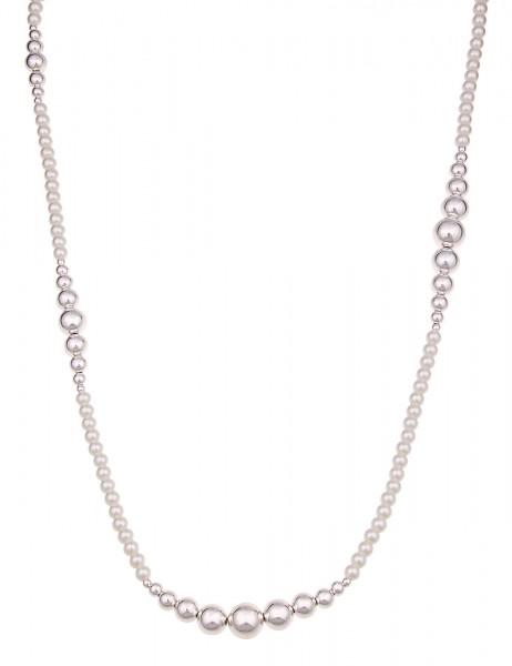 Leslii Damen-Kette Kugel Perlen Silber Weiß Metalllegierung Hochglanz 90cm T-Verschluss 220117024