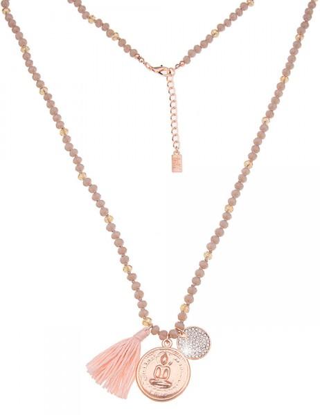 Leslii Damen-Kette Glasperlen Buddha Taupe Rosé Metalllegierung Textil 80cm + Verlängerung 220115833