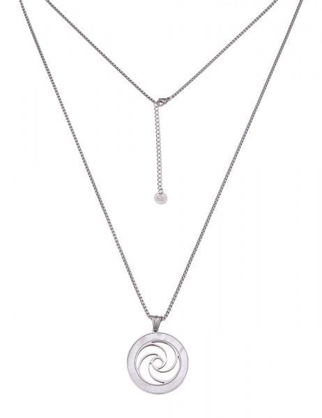 Leslii Damenkette Musterkreis aus Metalllegierung mit Perlmutt Länge 78cm in Silber Weiß