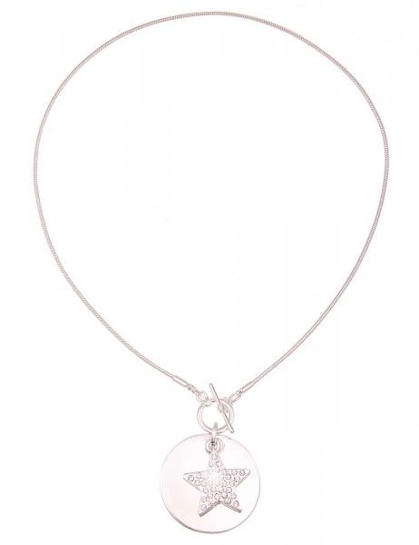Leslii Damenkette Glitzer Stern aus Metalllegierung mit Strass Länge 45cm in Silber Weiß