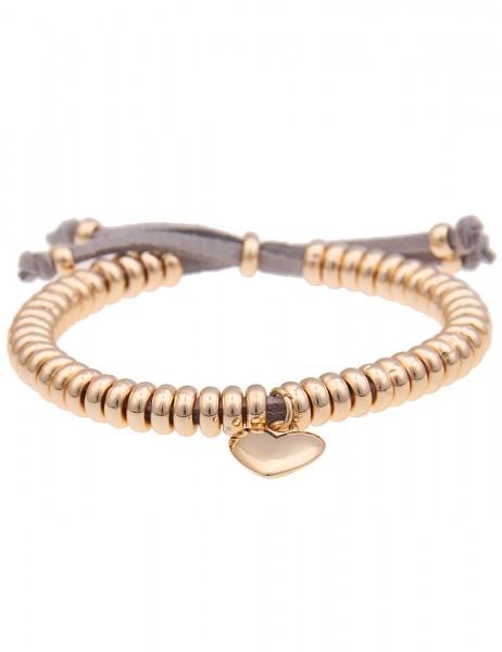 Leslii Damen-Armband Ring Herz Gold Grau Metalllegierung Lederimitat Größe verstellbar 260116333