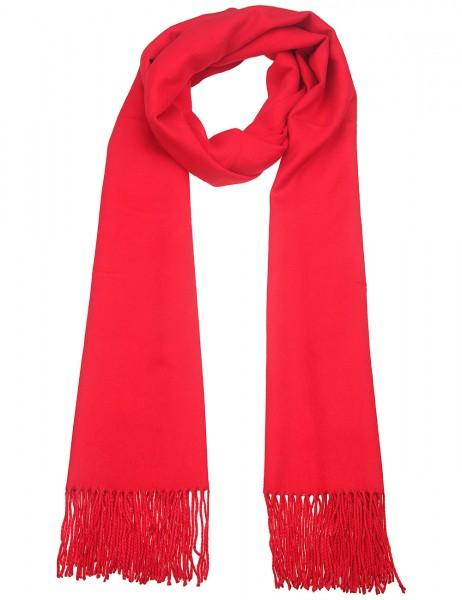 Leslii kuscheliger Damen Schal Uni Basic weicher Winterschal einfarbiger XXL-Schal roter Schal Ponch
