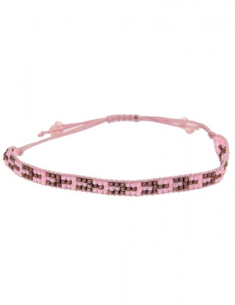-50% SALE Leslii 4Teen Damenarmband Web-Muster aus Textil mit Glasperlen Länge verstellbar in Rosa B