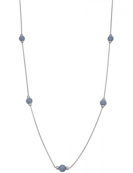 Leslii Damenkette Endlos Ketten-Kugel aus Metalllegierung Länge 98cm in Silber Blau