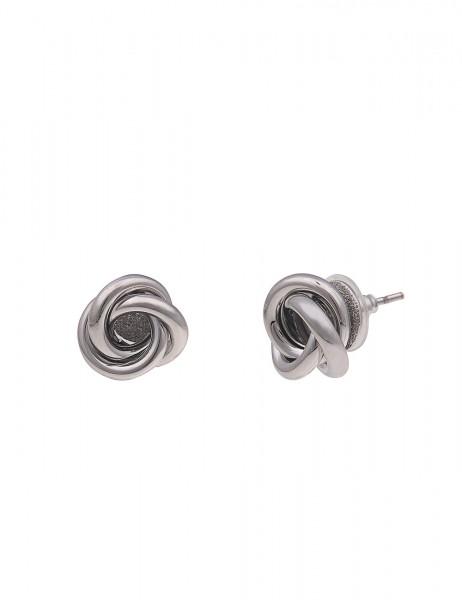 Leslii Damenohrringe Ohrstecker Endlos Knoten aus Metalllegierung Größe 1cm in Silber Hochglanz