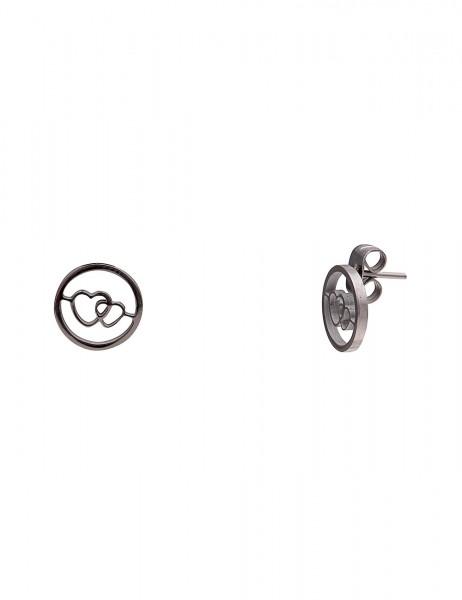 Leslii Damenohrringe Ohrstecker Herz Kreis aus Metalllegierung Länge 1cm in Silber Hochglanz