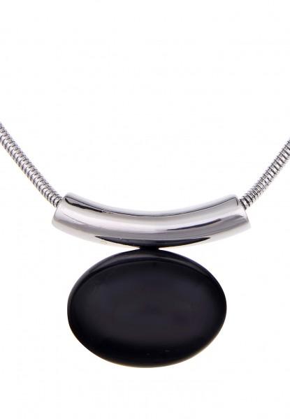 -70% SALE Leslii Black Stone Silber Schwarz | Trendige kurze Kette | Damen Mode-Schmuck | 42cm + Ver
