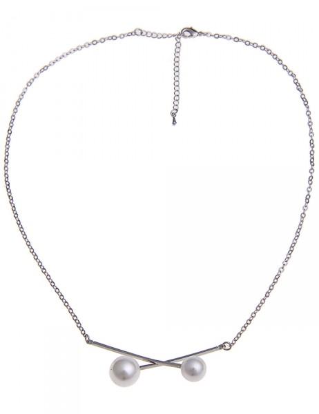 -50% SALE Leslii Damen-Kette Perlen-Kreuz Silber Weiß Metalllegierung 44cm + Verlängerung 210115902