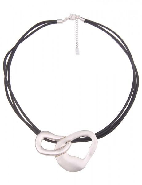Leslii Damen-Kette Formen Matt Glanz vegane Leder-Kette mehrfach kurze Halskette schwarze Modeschmuc