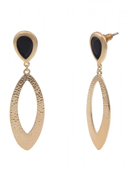 Leslii Damen-Ohrringe Ohrhänger XXL-Ohrringe Statement-Ohrringe Glas-Steine goldene Modeschmuck-Ohrr