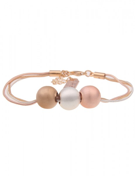 Leslii Damen-Armband Elsa Tricolor Kugel-Armband dreifarbiges Armband Modeschmuck-Armband Armschmuck