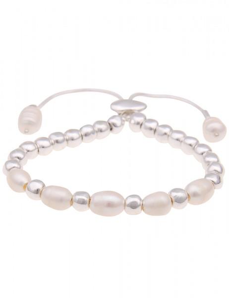 Leslii Damenarmband echte Süßwasser-Zuchtperlen Perlen-Armband weißes Modeschmuck-Armband Länge 19cm