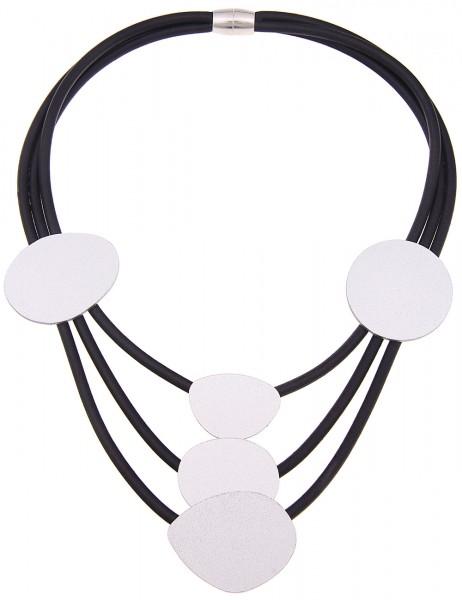 Leslii Damenkette Statement Look aus Gummi mit Metalllegierung Länge 46cm in Schwarz Silber Matt