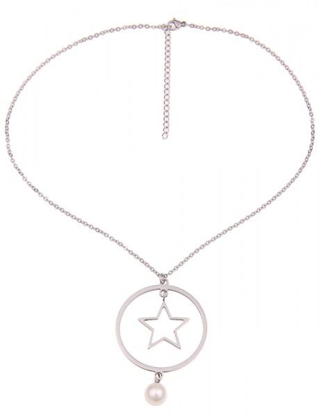 Leslii Damenkette Stern Ring aus Metalllegierung mit Perle Länge 42cm in Silber Hochglanz