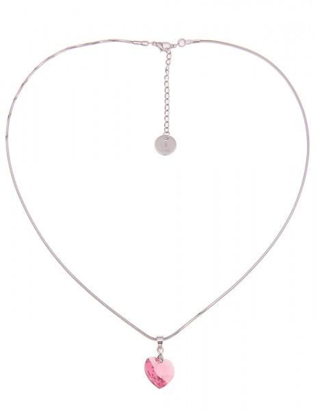 -50% SALE Leslii Damen-Kette Funkel Herz Silber Rosa Hochglanz Glasstein Metalllegierung 45cm + Verl