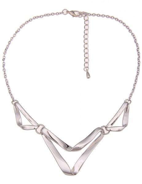 Leslii Damen-Kette Glanz Dreieck Silber Metalllegierung Gliederkette 44cm + Verlängerung 210116742