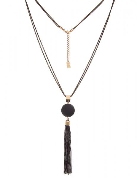 Leslii Damen-Kette Matt Kugel Tassel Quaste Troddel Bicolor lange Halskette schwarze Modeschmuck-Ket