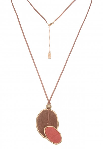 Leslii Damen-Kette Birte Oval-Anhänger vegane Leder-Kette braune Halskette lange Modeschmuck-Kette i