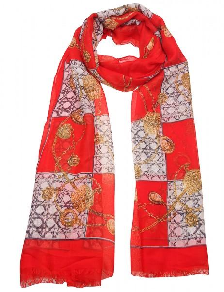 Leslii Damen-Schal Scarf Print Ketten-Muster Chain-Print weicher Herbstschal roter Musterschal Größe