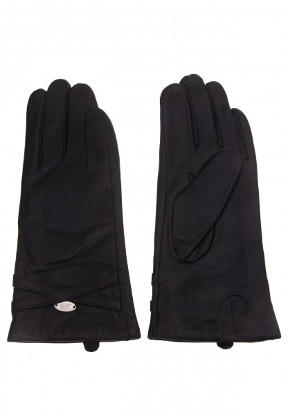 Leslii Damen-Handschuhe Fashion Klassik Leder-Bänder echte Leder-Handschuhe schwarze Winter-Handschu