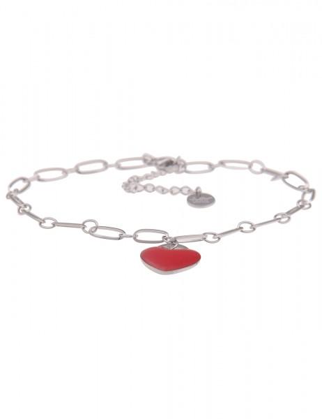 Leslii Fuß-Kette silbernes rotes Fußkettchen Damen Mädchen Liebe Herz Fuß-Schmuck silberner Modeschm