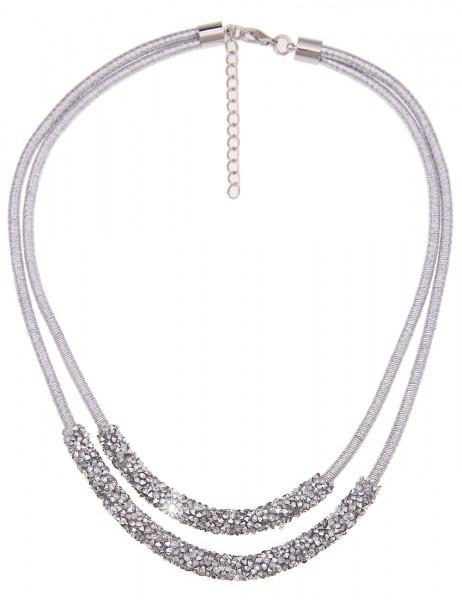 Leslii Damen-Kette Silver Shine Textil Strass 48cm + Verlängerung Silber 210116825